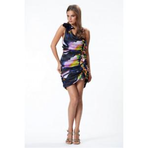 WAYNE COOPER - One Shoulder Ruched Dress (CS1513 - Multi)