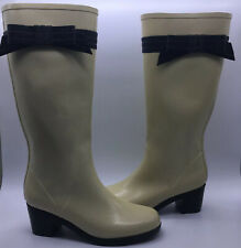 Kate Spade Cream Black Bow Heeled Tall Rain boots Women's Size 9- Super Chic