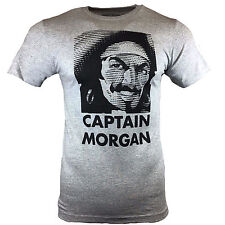 CAPTAIN MORGAN Men's T-shirt - Rum Fun Funny Pirate Tee - Gray Small S