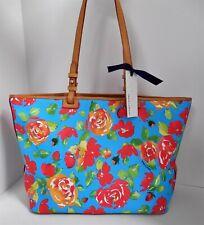 New Dooney & Bourke Aqua Flower Leisure Large Shopper Tote  Bag