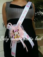 Baby Shower Minnie Mouse Mom To Be It's a Girl Sash Pink Ribbon and Corsage