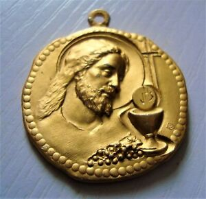 Vintage Gold Coloured First Communion Remembrance Medal From Italy
