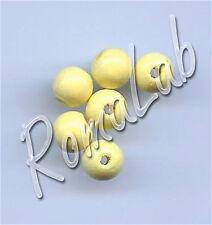 85 PERLE PERLINE DA 8 MM rotonde IN LEGNO verniciato giallo chiaro beads yellow
