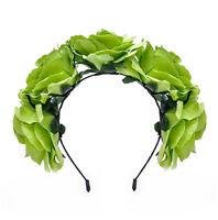 Boho Large Flower Headband Bridal Garland Rose Hair Band Festival Wedding Crown
