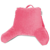 Soft Foam Reading Pillow, TV & Bed Rest Pillow, Arms Support With Pockets - Pink