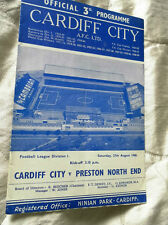 1960/1 Cardiff City V un Preston North End