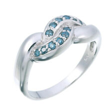 Sterling Silver Blue Diamond Ring (1/5 CT) In Size 7