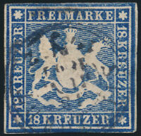 WÜRTTEMBERG, MiNr. 15, gestempelt, gepr. Heinrich, Mi. 1500,-
