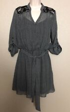 NWT BCX Women's/Juniors Black Lace Trim Belted Sheer Lined A-Line Dress Size XL