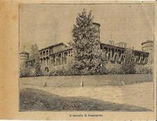 Stampa antica FRASCAROLO veduta del castello Lomellina Pavia 1897 Old Print