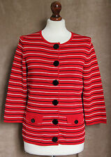 3/4 Sleeve Red Cardigan with Narrow Black & White Stripes - Size S - CC Petite