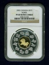 "CANADA  2002 15 DOLLARS ""YEAR OF HORSE"" COIN, NGC CERTIFIED PROOF-68 ULTRA CAMEO"