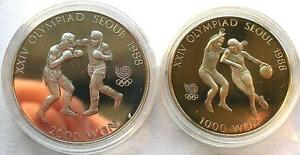 South Korea 1988 Seoul Olympics Set of 1000,2000 Won Coins,Proof