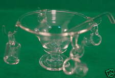 Doll House round glass punch bowl , ladle and cups
