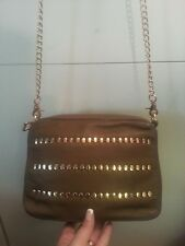 Kelsi Dagger Alexandra Leather Taupe Chain Studed Crossbody Shoulderbag Bag