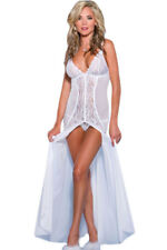 White Sleepwear Gown Lingerie Bridal Lace Dress Bohemian Floral Slit XL 6143