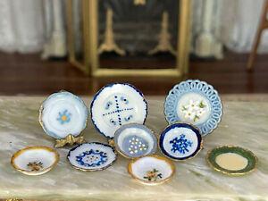 Vintage Artisan Miniature Dollhouse Hand Painted Gilt Group Plates Eclectic OOAK