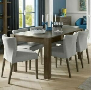 Bentley Designs Extending Dining Table + 6 Chairs, Seats 6-8 Milan Dark Oak