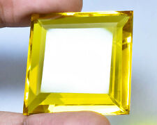 CS-0026 Citrine Glass Stone Gemstone Square Faceted Cabochon 35mm 107Cts Cab