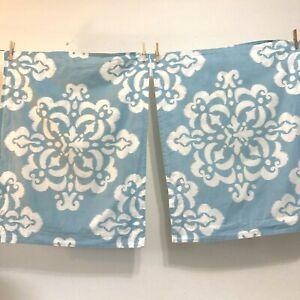 PAIR 2 Pottery Barn PB Dorm Standard Sz Pilow Shams Blue Aqua White Ikat Cotton