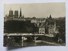 Paris France Vintage B&W Postcard 1939 Le Pont-Neuf +period bus & cars