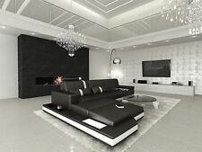 Ledersofa MESSANA L Form schwarz weiss Licht Design Luxus Sofa Eckcouch