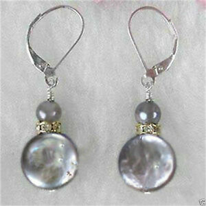 13-14mm Coin Gray Baroque Pearl Earring Silver Hook Jewelry Accessories Real