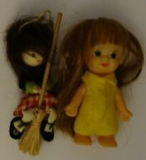 Two little dolls:a girl and a witch on a pendent-broomstick.1980s Free shipping