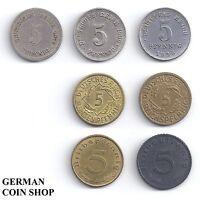 7 x 5 Pfennig - Set aller 5 Pfennig Münzen von 1874 - 1944 Deutsches Reich