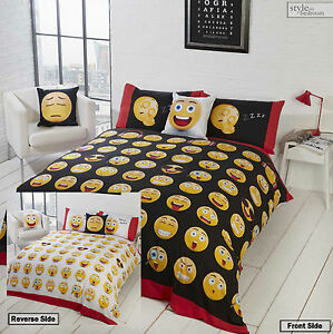 2 Sided Smiley Face Emotion Emoji Icons Reversible Duvet Quilt Cover Bedding Set