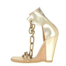 RICK OWENS New Woman Gold Leather CHAIN WEDGE Sandals Shoes Size 41 it Mules