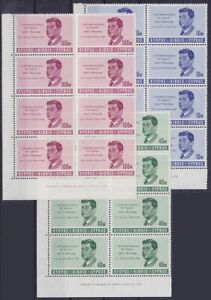 Cyprus Mi No. 247 - 249 Top Bow Corners 8er Blocks, Kennedy, Mint, MNH