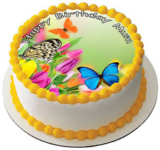 BUTTERFLY FLOWER 7.5 PREMIUM Edible RICE CARD Cake Topper CAN BE PERSONALISED D1