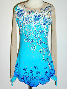 BRAND NEW Exquisite Turquoise Figure Skating Dress Girls X-Large W/Crystals