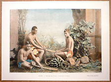 OCÉANIE - Indigènes de Tahiti travaillant le burao - Photochromie fin 19ème