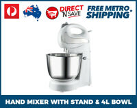 2 in 1 Hand Mixer With Stand 4L Bowl 300W Hand Held Baking Cooking 4 Speed