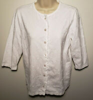 Denim & Co. Women's Top Sz XS Embroidered White 3/4 Sleeve Buttoned Top