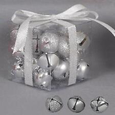 Decoración Árbol Navidad 27 Mezclado Metal 25mm CASCABEL BOLAS - PLATA