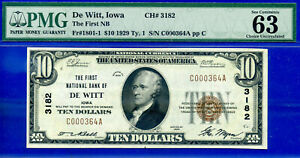 TOP POP CH# 3182 - 1929 $10 (( FINEST Known - De Witt, Iowa )) PMG 63EPQ # 0364-