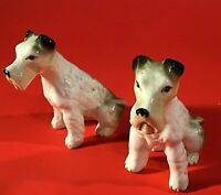 "SCHNAUZER DOG FIGURINES SET OF 2 HAND DECORATED 3 3/8"" PORCELAIN VINTAGE"