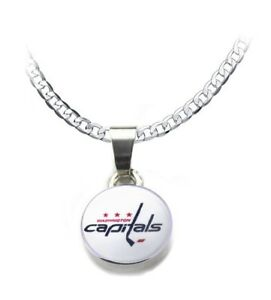 Solid 925 Sterling Silver Official 2018 Stanley Cup Champions Washington Capitals Large Pendant Charm Necklace