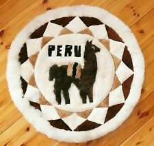 Alpaka Fell Wandbehang rund, D = 90 cm, Alpaca Vorleger Teppich, Lama Deko Peru