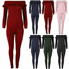 Womens Frill Tracksuit Ladies Oversized Off the Shoulder Bardot Top Lounge Wear