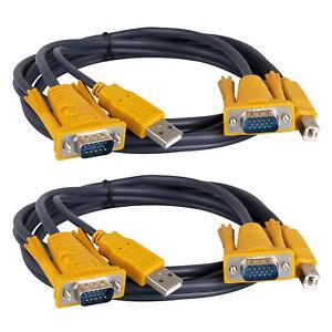 2pcs KVM Cable VGA USB Adapter 5ft for PC Computer Printer 15-pin LCD Monitor