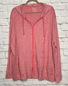 3X/4X New Red White Chambray Hoodie Sweatshirt Track Jacket Knit Pockets Plus