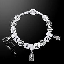 Leo Astrology Bead .925 Sterling Silver Bracelet White Quartz Gem Peter Stone