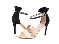 Kate Spade S9441174 Iris Nude Nappa Black Patent Kid Suede Heel Sandal Size 9.5