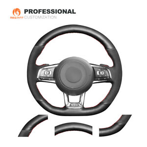 Black Leather Suede Car Steering Wheel Cover for VW Golf 7 GTI Golf R MK7 Polo