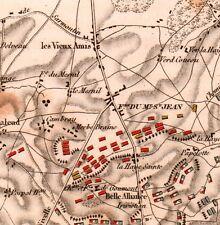 Plan de la Bataille de Waterloo Napoléon Premier Empire 1837 Belgique