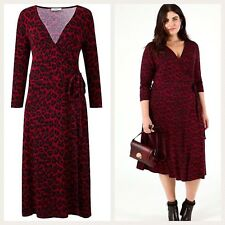 Size 24/26 Red Dress Leopard Animal Print Wrap Midi Christmas Party Oasis XXXL